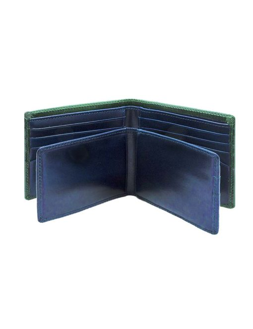 Dark Olive Green 100% Geniune Top Grain Leather 2-in-1 Bifold 12CC Wallet with Contrasting Inner Collars and Lining RFID Anti-theft SLG13.NOB1