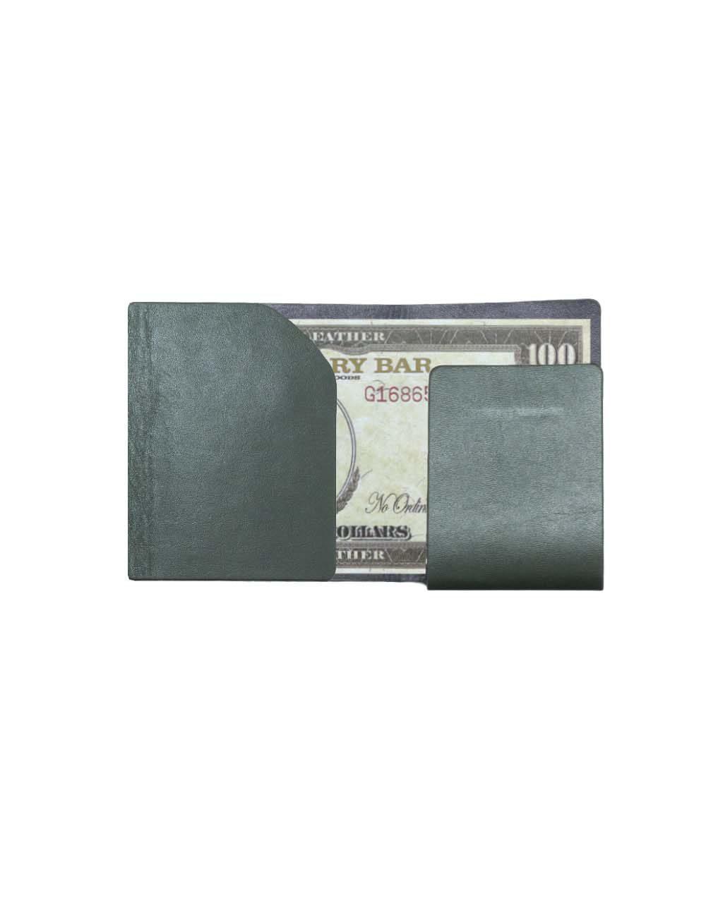 Dark Olive Green 100% Genuine Top Grain Leather Money Fold SLG6.NOB1