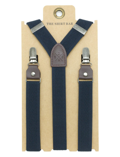 Navy Pattern Single Back Clip 2.5cm Suspender with Leather SPD16.4
