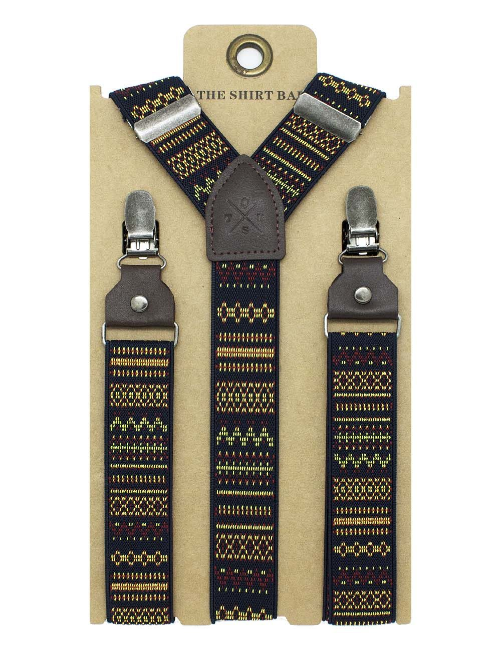 Black with Orange Pattern Single Back Clip 3cm Suspender with Leather SPD18.4