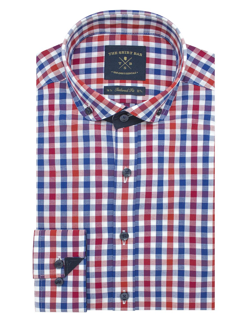 Tri-Color Checks Slim / Tailored Fit Button Down Long Sleeve Shirt - TF7E1.19
