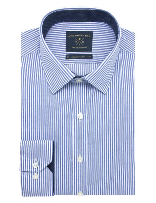White and Blue Stripes Spill Resist Modern / Classic Fit Long Sleeve Shirt - CF2A12.19
