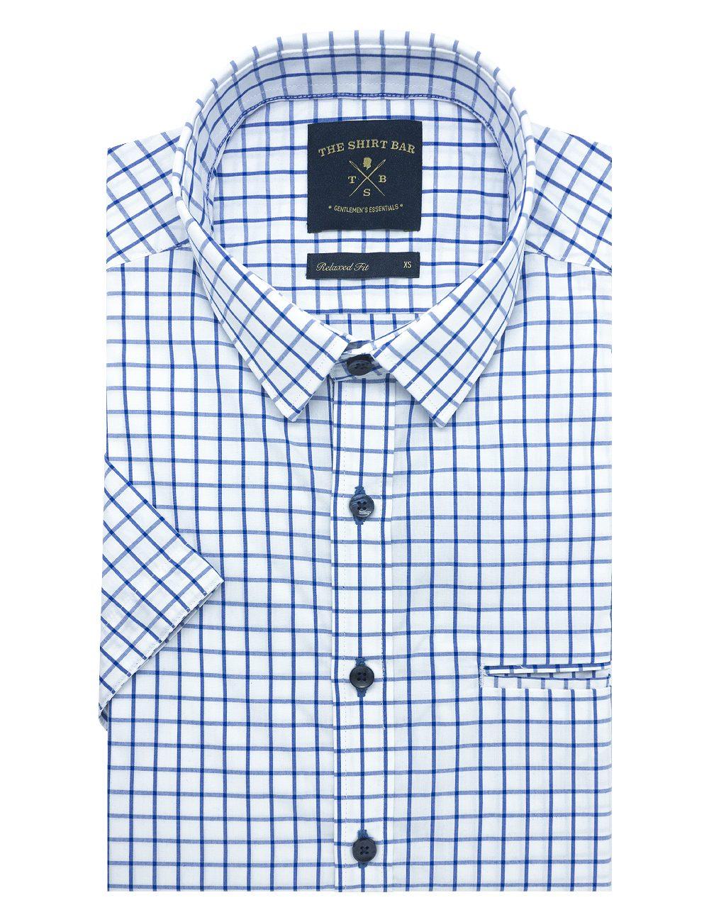 White with Blue Checks Custom / Relaxed Fit Short Sleeve Shirt – RF9SNB16.19