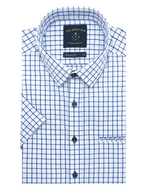 White with Blue Checks Custom / Relaxed Fit Short Sleeve Shirt – RF9SNB16.19