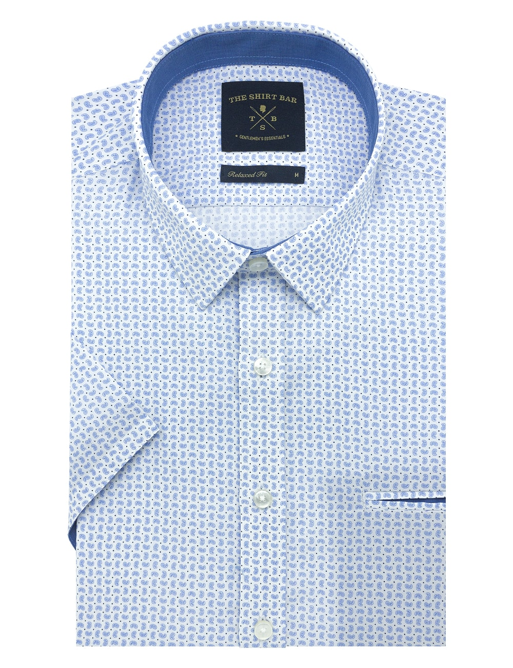 White with Blue Paisley Print Custom / Relaxed Fit Short Sleeve Shirt – RF9SNB3.19
