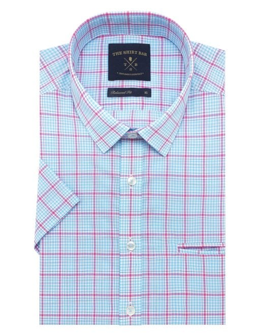 White with Blue and Pink Checks Custom / Relaxed Fit Short Sleeve Shirt – RF9SNB15.19