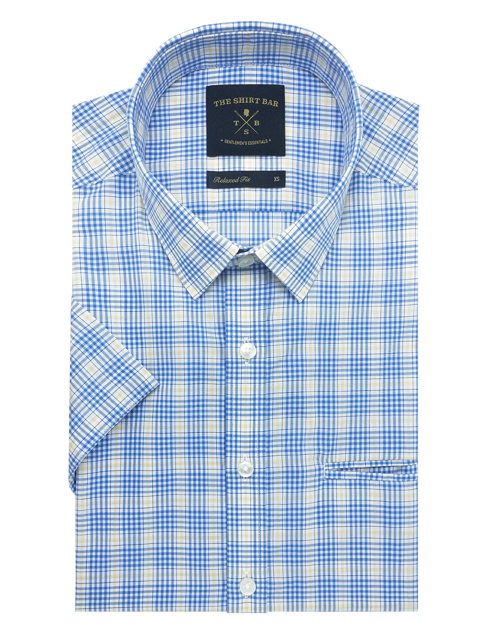 White with Blue and Yellow Checks Custom / Relaxed Short Sleeve Shirt – RF9SNB14.19