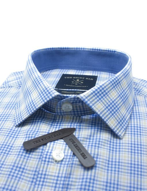 White With Blue And Yellow Checks Modern / Classic Fit Long Sleeve Shirt – CF2A5.19
