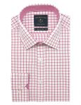 White with Red Checks Modern / Classic Fit Long Sleeve Shirt - CF2A10.19