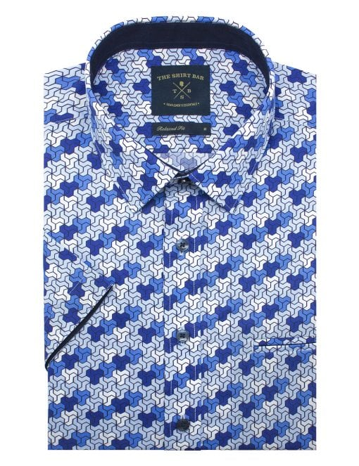 Blue Mosaic Tiles SG Inspired Silky Finish Short Sleeve Shirt - RF9SNB3.18