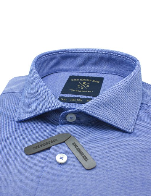Sky Blue Jetsetter Knitted Slim / Tailored Fit Long Sleeve Shirt – SF1AF1.18