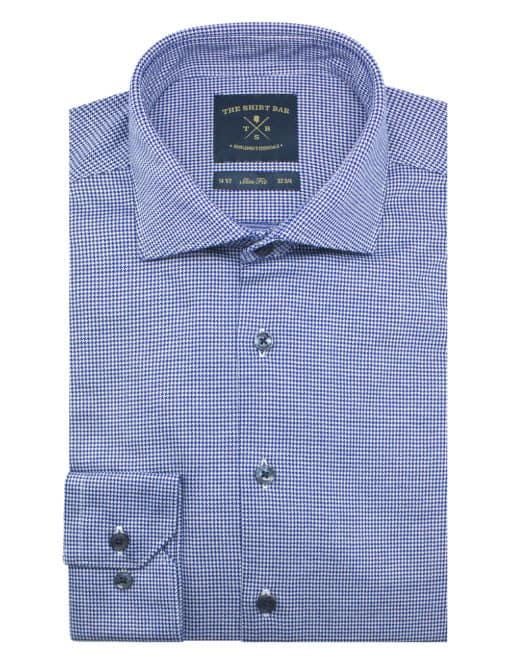 Navy and White Spheres Jetsetter Knitted Slim / Tailored Fit Long Sleeve Shirt – SF1AF2.18