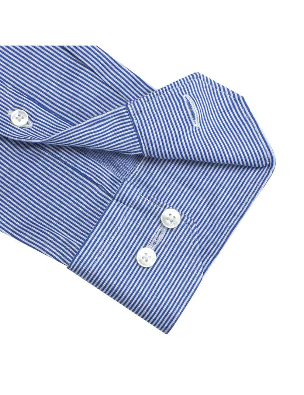 Blue and White Stripes Jetsetter Knitted Slim / Tailored Fit Long Sleeve Shirt – SF1AF5.18