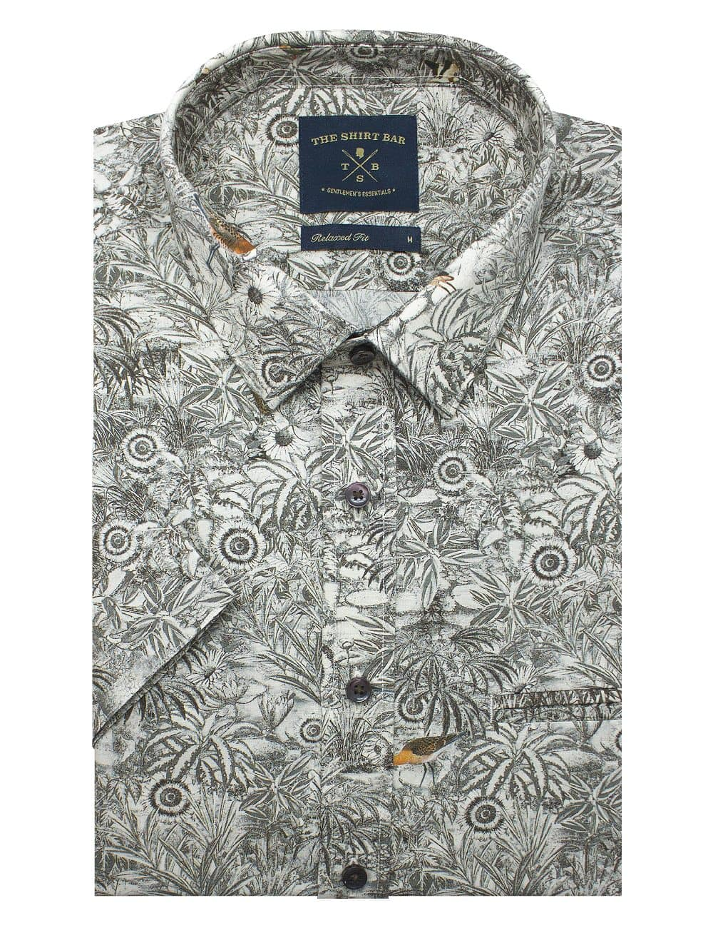 Brown Print Italian Fabric Silky Finish Relaxed Fit Short Sleeve Shirt - RF9SNB10.18