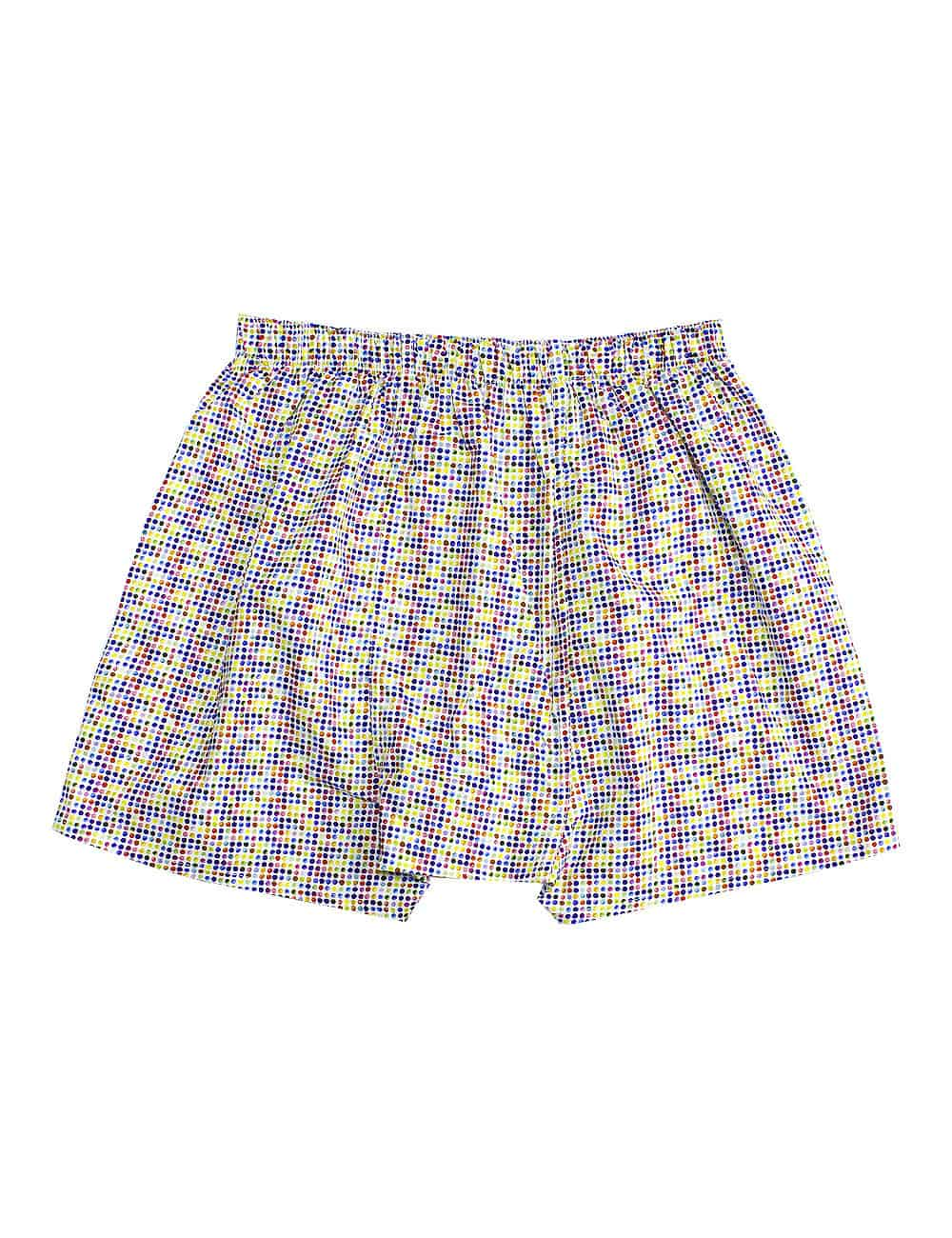 100% Premium Cotton Multi Colour Polka Dots Print Button Fly Boxer Shorts with Silky Finish IW1A12.1