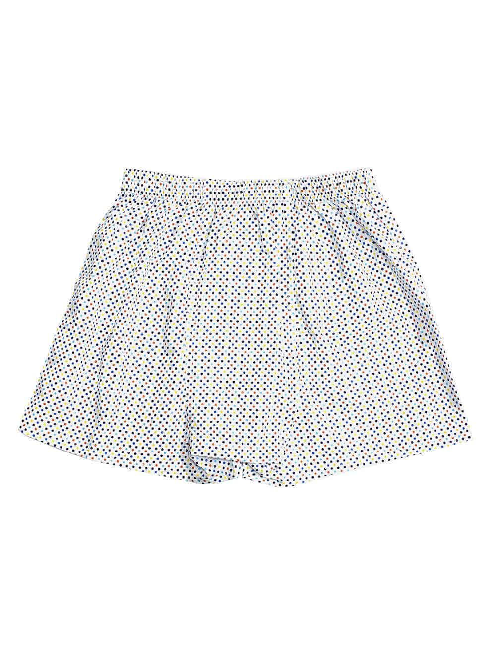 100% Premium Cotton White with Multi Colour Polka Dots Button Fly Boxer Shorts with Silky Finish IW1A13.1