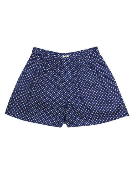 100% Premium Cotton Navy with Multi Color Polka Dots Button Fly Boxer Shorts with Silky Finish IW1A14.1