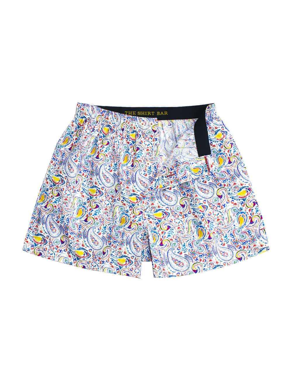 Singapore Collection Immigrant Cultures Blue Paisley Print Button Fly Boxer Shorts with Silky Finish IW1A3.1