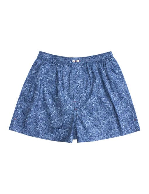 Singapore Botanic Gardens Inspired Navy with Blue Floral Print Button Fly Boxer Shorts with Silky Finish IW1A4.1