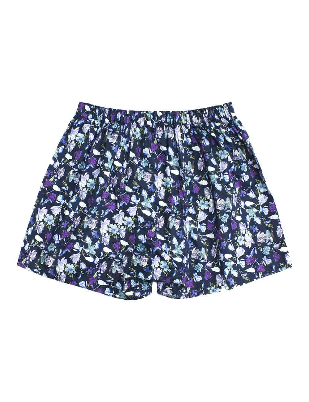 Singapore Botanic Gardens Inspired Navy Floral Print Button Fly Boxer Shorts with Silky Finish IW1A5.1