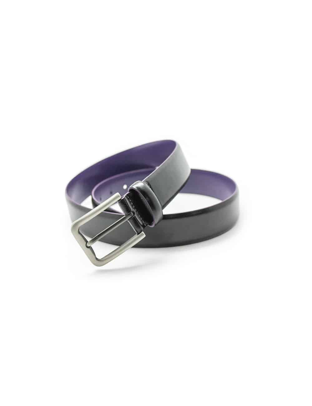 Black & Royal Purple Leather Belt LB1.5