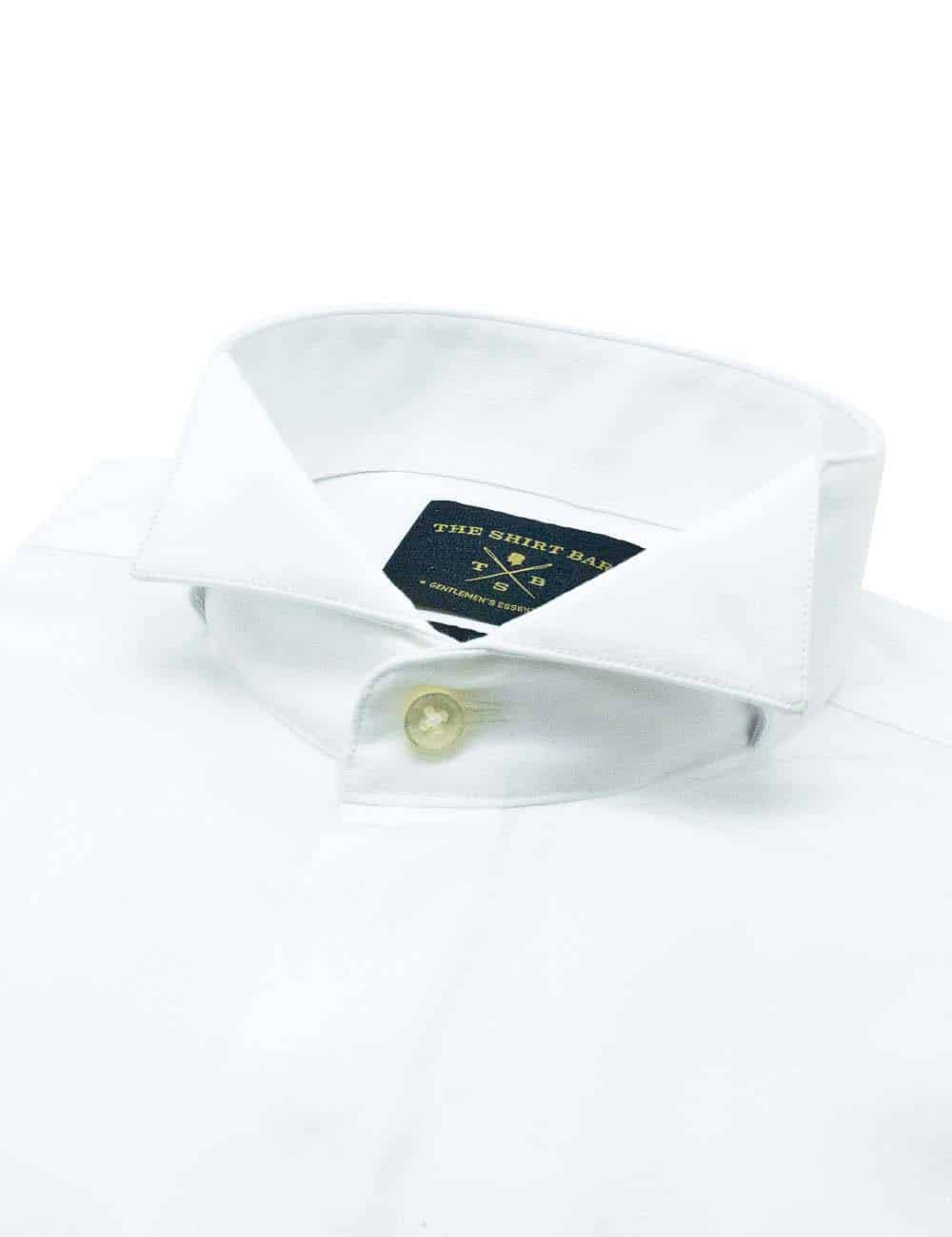 Modern Fit 100% Premium Cotton Solid White Wing Tip with Hidden Buttons Tuxedo Long Sleeve Double Cuff Shirt with Long Lasting White Finishing MF32DT2.NOS