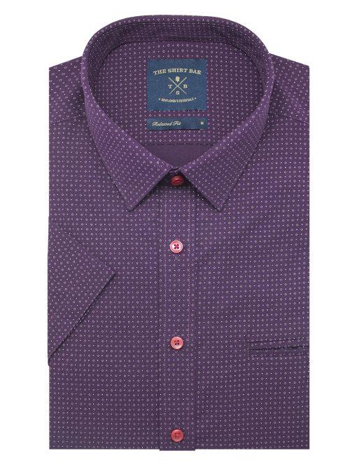 Maroon Print Eco-ol Bamboo Short Sleeve Shirt - RF9SNB14.18