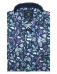 Navy Floral Print Silky Finish Relaxed Fit Short Sleeve Shirt - RF9SNB8.18