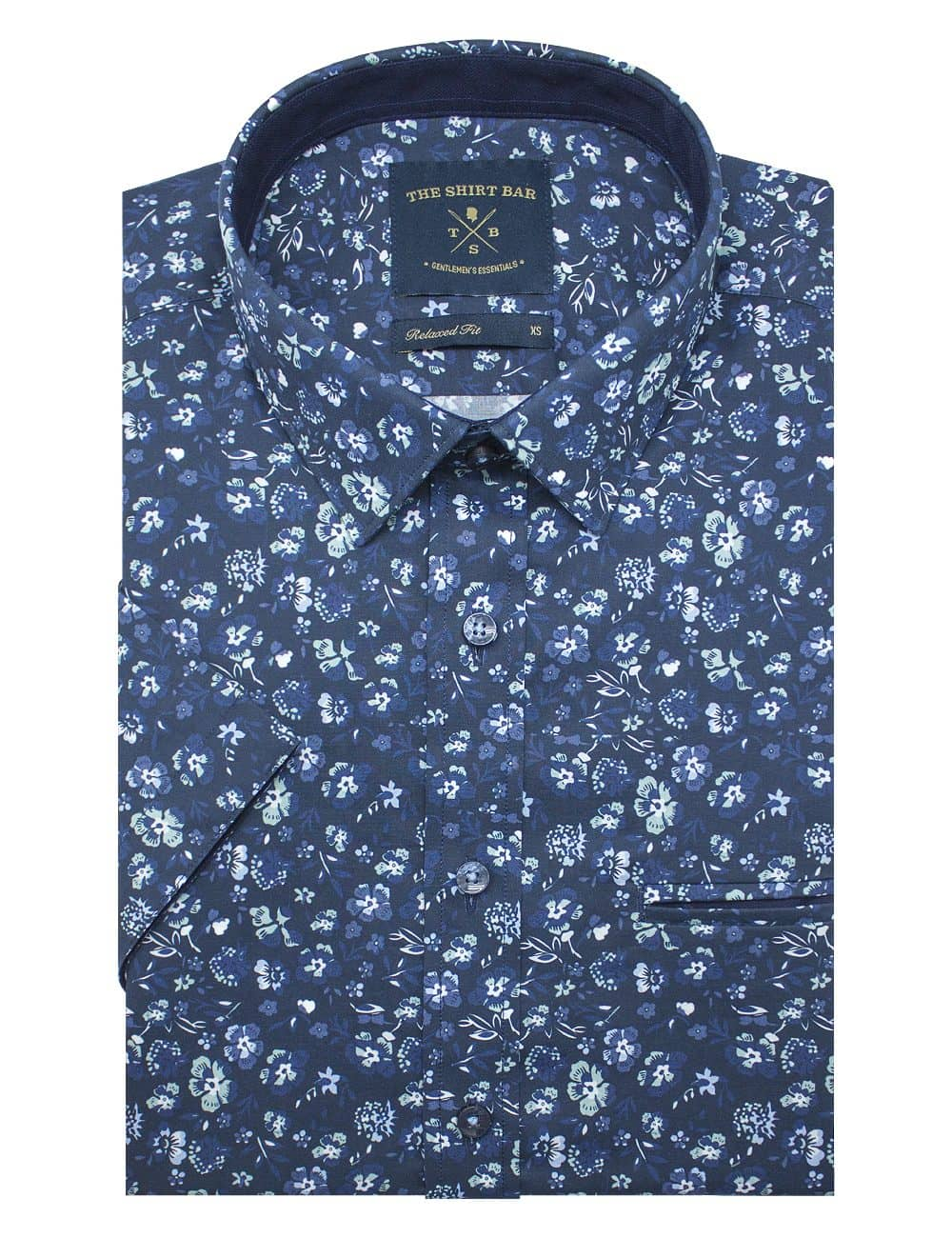Navy Floral Print Silky Finish Relaxed Fit Short Sleeve Shirt - RF9SNB9.18
