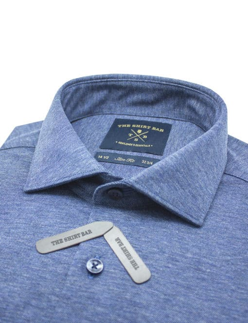 Slim Fit Navy Heather Knitted Long Sleeve Single Cuff Shirt SF1AF3.18