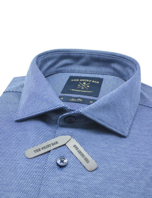 Navy Micro Checks Jetsetter Knitted Slim / Tailored Fit Long Sleeve Shirt – SF1AF4.18