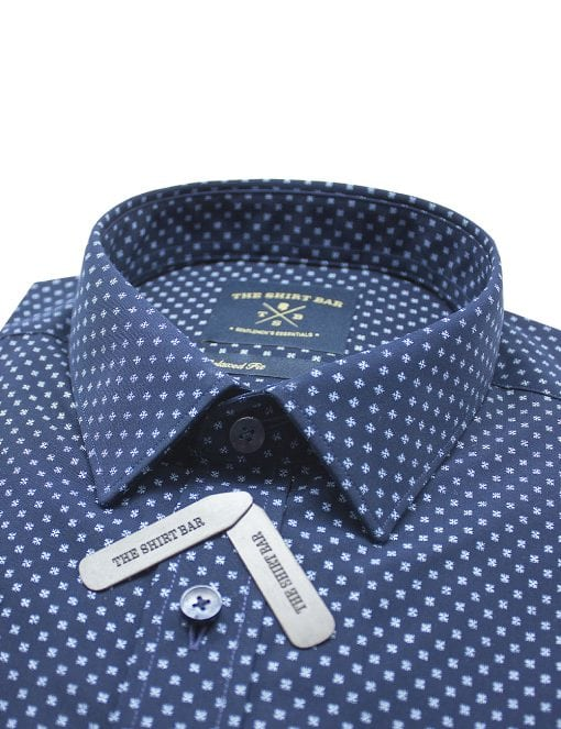 Blue Snowflake Print Eco-ol Bamboo Short Sleeve Shirt - RF9SNB12.18