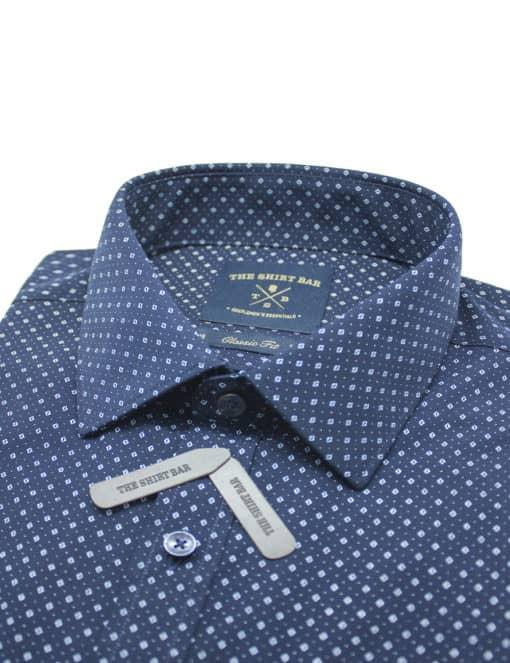 Classic Fit Navy with Blue Print Eco-ol Bamboo Shirt CF2A11.18
