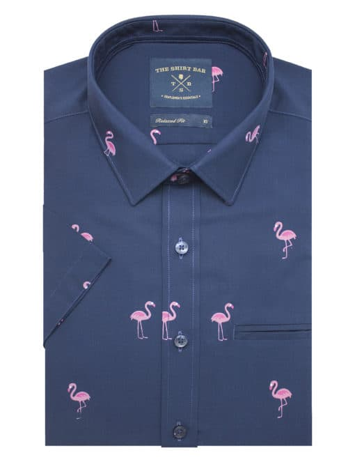 Relaxed Fit Navy with Flamingo Print Eco-ol Bamboo Short Sleeve Shirt RF9SNB13.18