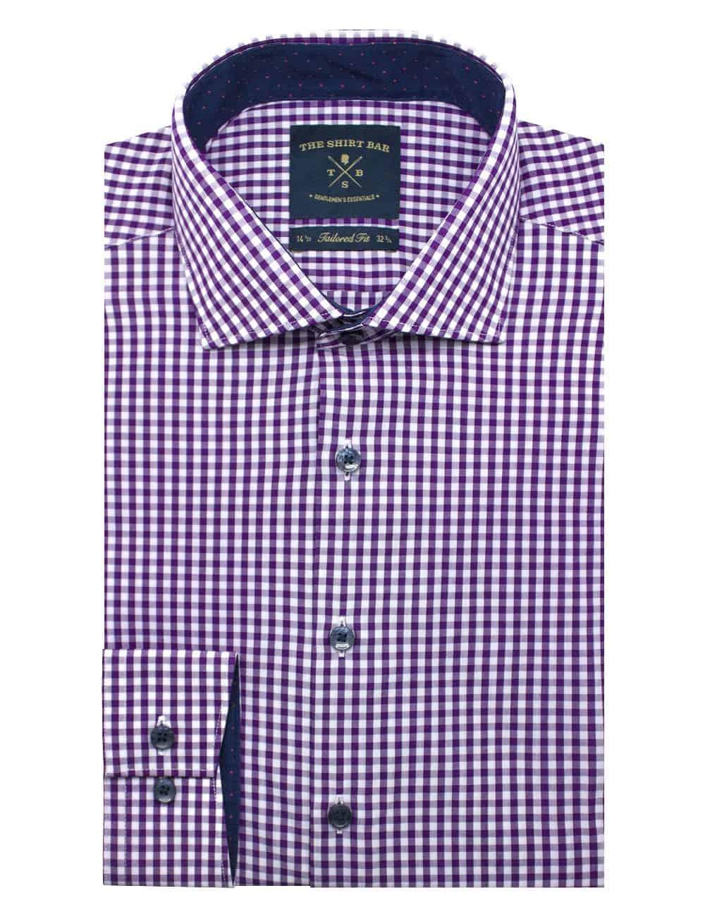 Purple Checks Eco-ol Bamboo Long Sleve Shirt - TF1C5.18