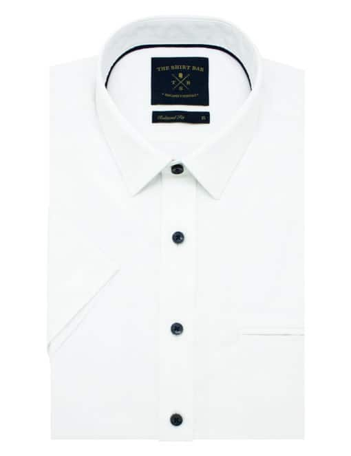 Relaxed Fit 100% Premium Cotton Solid White Oxford Easy Iron Short Sleeve Shirt RF9SNB1.17