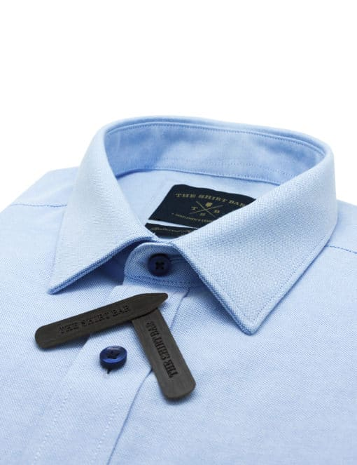 Relaxed Fit Cotton Blend Wrinkle Resistant Solid Blue Oxford Short Sleeve Easy Iron Shirt RF9SNB11.17