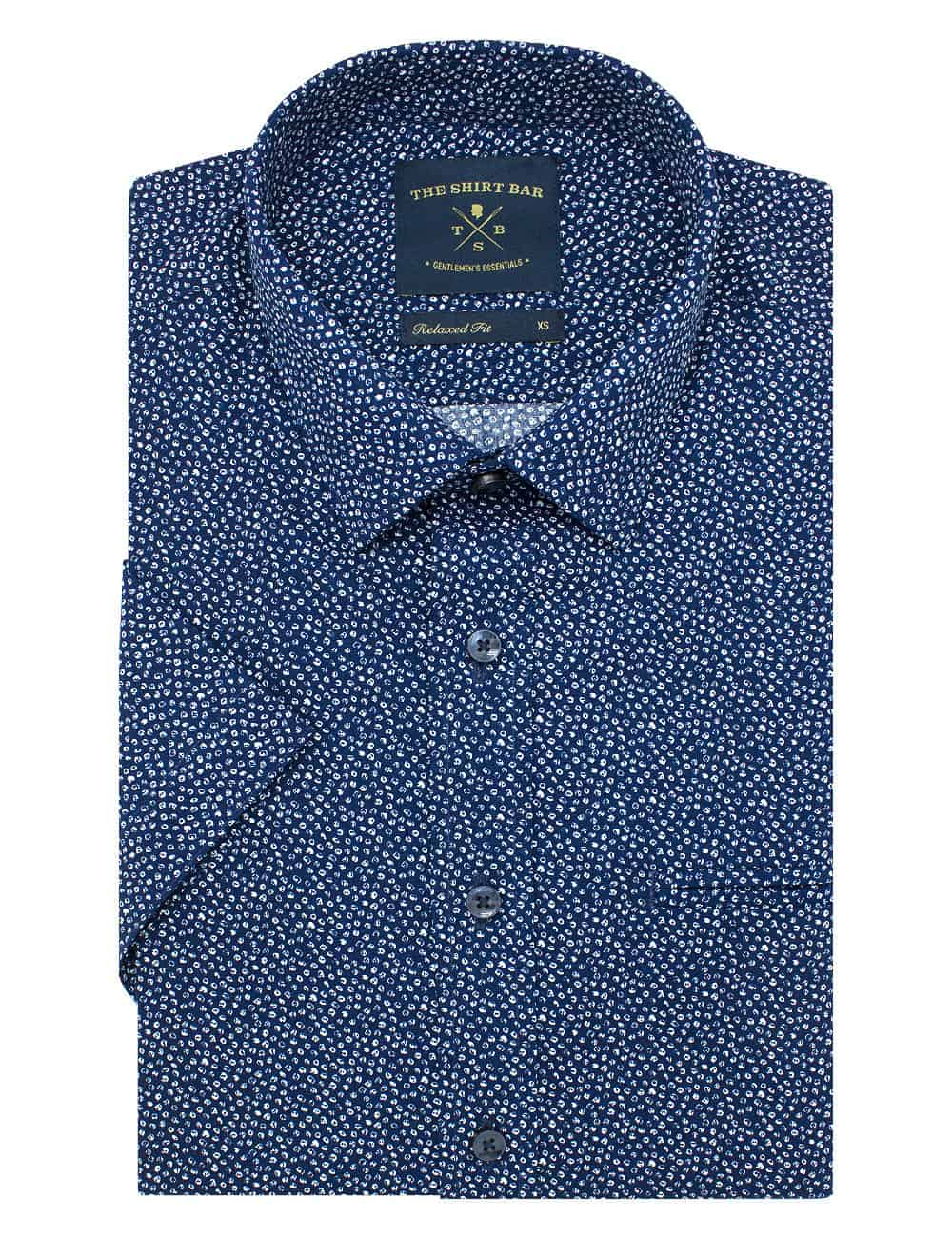Relaxed Fit 100% Premium Cotton Navy with White Print Short Sleeve Shirt RF9SNB3.17