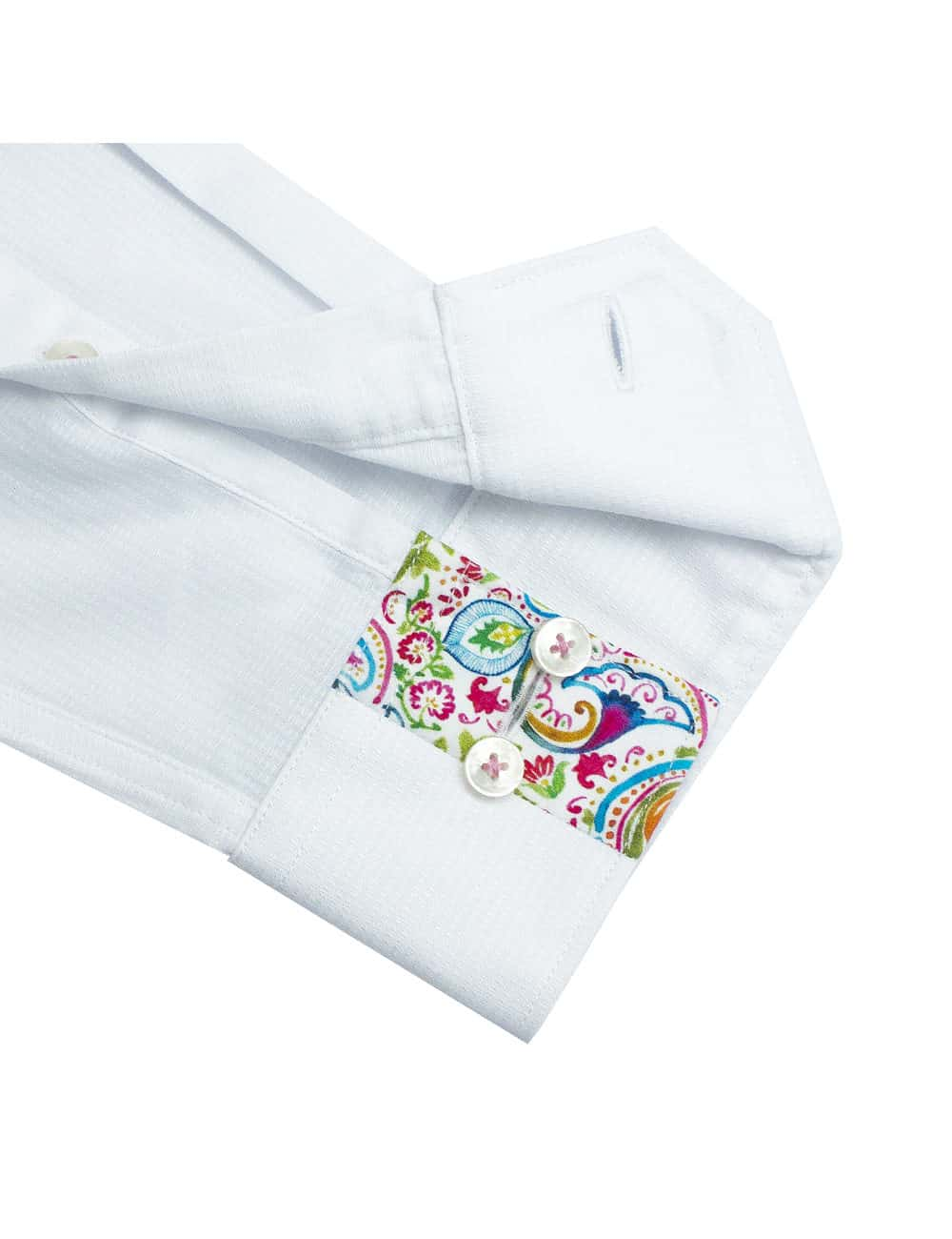 Tailored Fit Solid White Spill Resist Shirt with Vibrant SG Inspired Contrast TF2F1.18