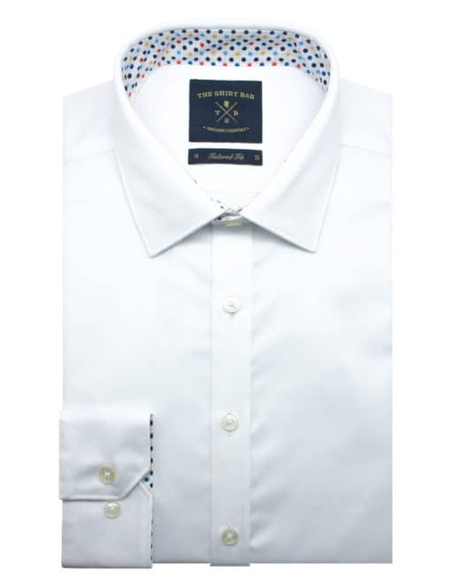 Tailored Fit Solid White Twill Double Ply Wrinkle Free Shirt TF2A5.18