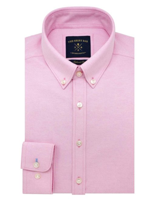 Tailored Fit Cotton Blend Wrinkle Resistant Solid Pink Oxford Button Down Easy Iron Long Sleeve Single Cuff Shirt TF5B2.17