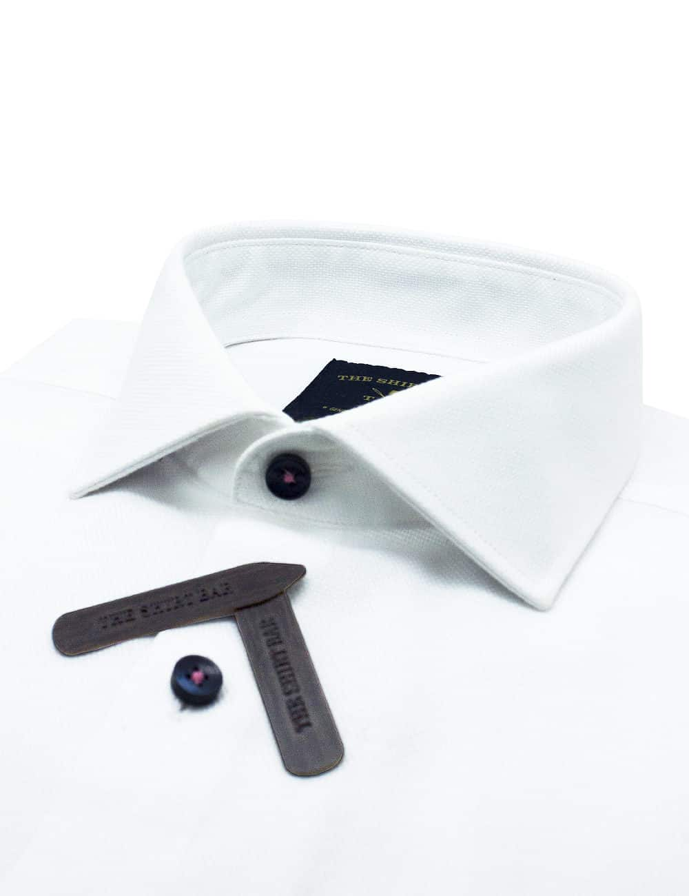 Tailored Fit 100% Premium Cotton Long Sleeve Solid White Single Cuff Weave Shirt TF1C1.17