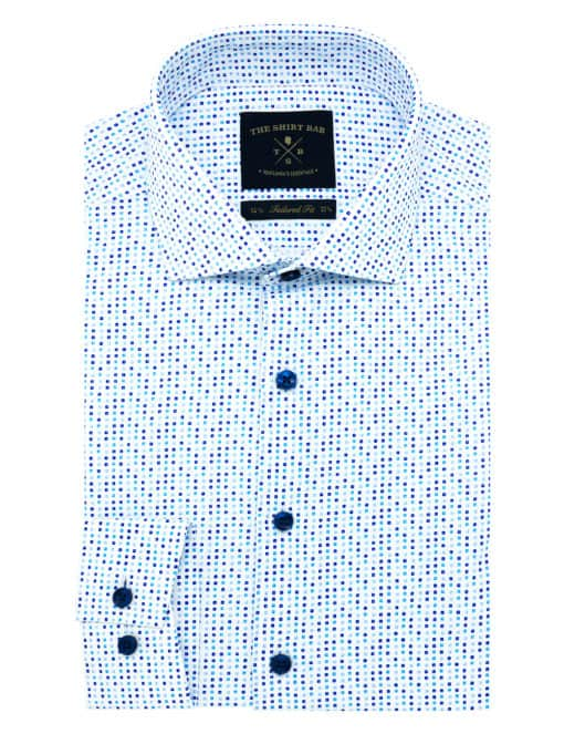 Tailored Fit 100% Premium Cotton White with Blue Print Shirt TF1C2.17