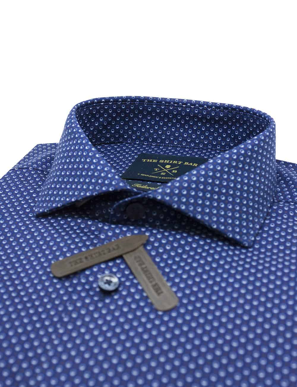 Tailored Fit 100% Premium Cotton Navy with White Print Long Sleeve Single Cuff Shirt TF1C3.17