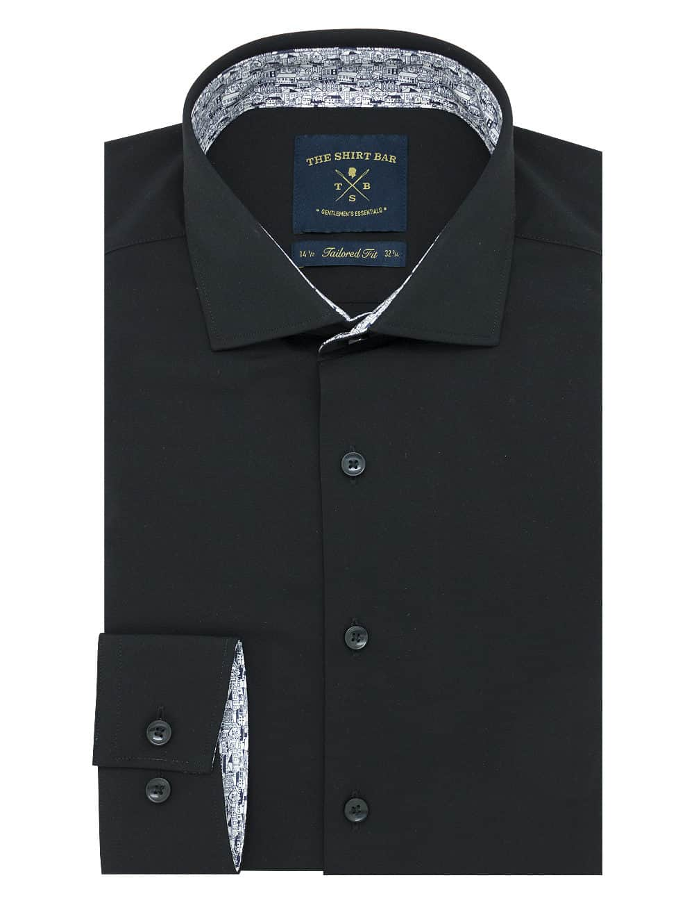 Tailored Fit Eco-ol Bamboo Blend Wrinkle Free Solid Black Long Sleeve Single Cuff Shirt TF1C5.17