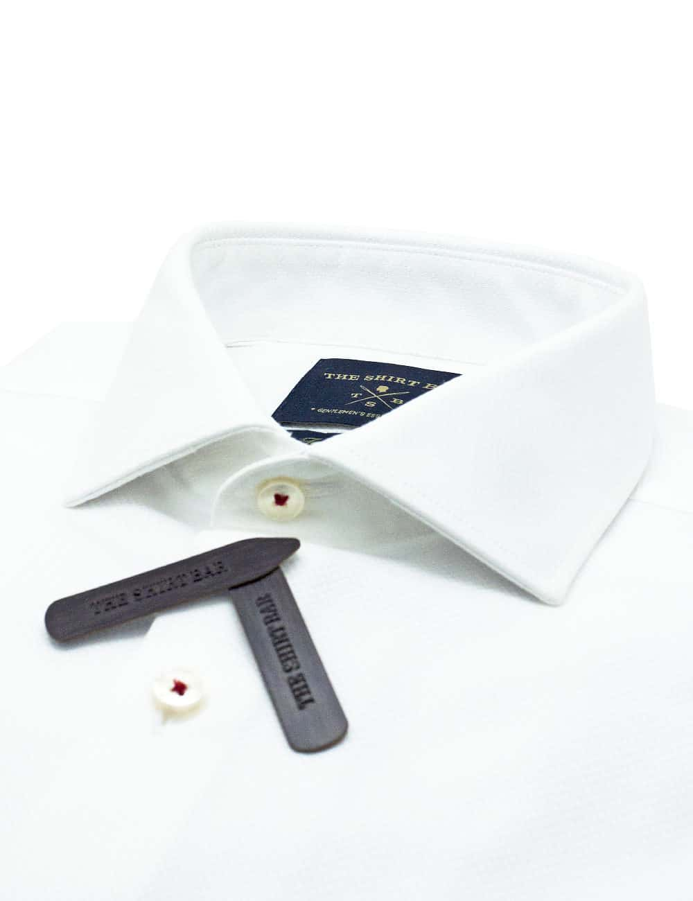 Tailored Fit 100% Premium Pima Cotton Double-Ply Solid White Micro Checks Long Sleeve Single Cuff Shirt TF1C6.17