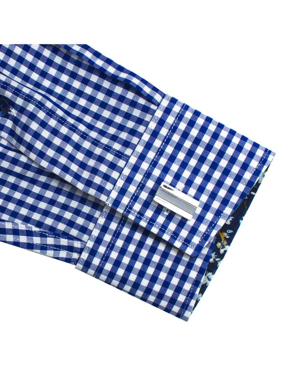 Tailored Fit Eco-ol Bamboo Blend Wrinkle Free Blue Checks Long Sleeve Single Cuff Shirt TF1C7.17