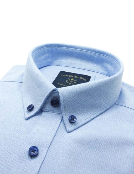 Tailored Fit Cotton Blend Wrinkle Resistant  Solid Blue Oxford Button Down Easy Iron Long Sleeve Single Cuff Shirt TF5B1.17