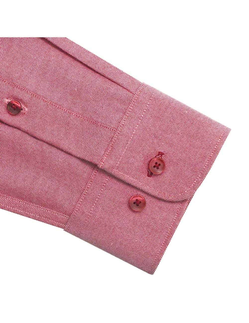 Tailored Fit Cotton Blend Wrinkle Resistant Solid Red Oxford Button Down Easy Iron Long Sleeve Single Cuff Shirt TF5B4.17