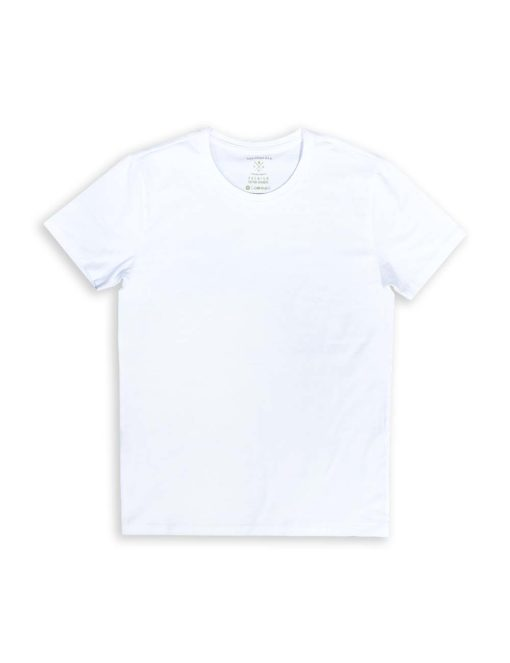 Slim Fit White Premium Cotton Stretch Short Sleeves Crew Neck T-shirt TS1A1.1